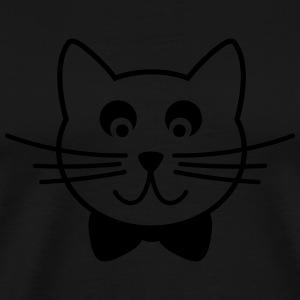 Cat with tie bow Outline Long Sleeve Shirts - Men's Premium T-Shirt