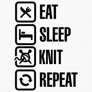 Eat Sleep Knit Repeat Buttons & merkelapper - Premium langermet T-skjorte for menn