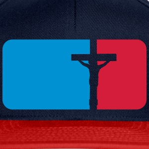 Red blue sport button dead pinned cross symbol tea T-Shirts - Snapback Cap