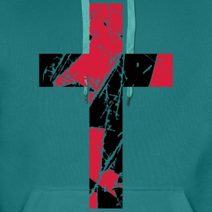Crosses scratches old text jesus christ cool logo  T-Shirts - Men's Premium Hoodie