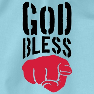 God bless you finger show hand funny god jesus log T-Shirts - Drawstring Bag