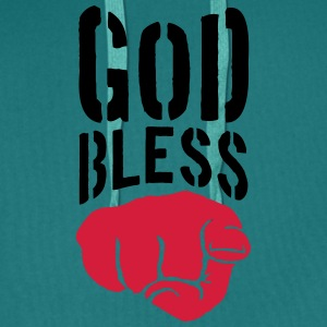 God bless you finger show hand funny god jesus log T-Shirts - Men's Premium Hoodie
