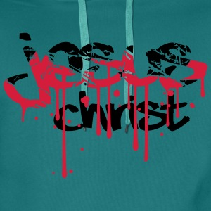 Christ, blood, scratch, crack, graffiti, drops, ta T-Shirts - Men's Premium Hoodie