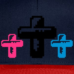 3 cruces de colores de píxeles fresco gamer retro  Camisetas - Gorra Snapback