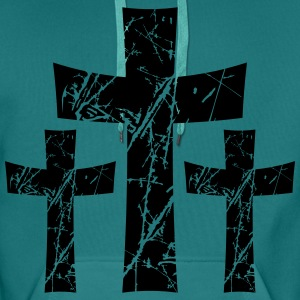 3 crosses pattern tears scratch old text jesus chr T-Shirts - Men's Premium Hoodie
