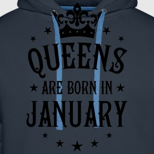 Queens are born in January Crown Queen T-Shirt - Männer Premium Hoodie