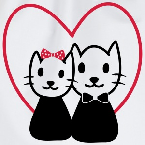 Cat in love - Valentine's Day Gifts - Drawstring Bag