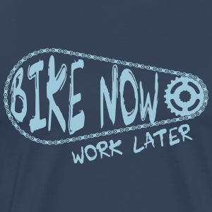 bike now work later  Long Sleeve Shirts - Men's Premium T-Shirt