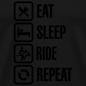 Eat sleeps horse ride repeat Sportkläder - Premium-T-shirt herr