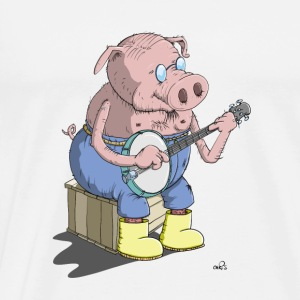 The Hillbilly banjo playing pig Long Sleeve Shirts - Men's Premium T-Shirt