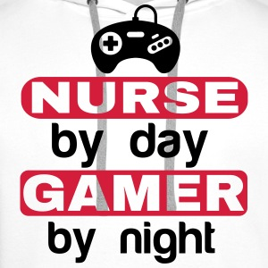 NURSE BY DAY GAMER BY NIGHT  T-Shirts - Men's Premium Hoodie