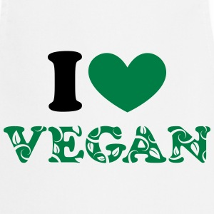 I heart vegan, hjerte, grøn, planter power, i love T-shirts - Forklæde