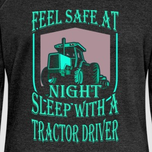 Feel safe at night sleep with a tractor driver - Women's Boat Neck Long Sleeve Top