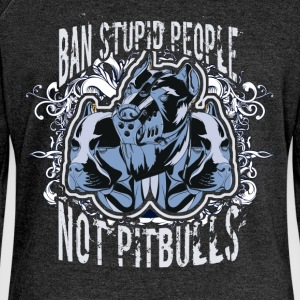 Ban stupid people not pitbulls - Women's Boat Neck Long Sleeve Top