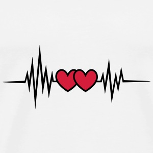 Pulse, frequency heartbeat, hearts Valentine's Day Bags & Backpacks - Men's Premium T-Shirt
