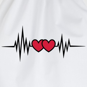 Pulse, frequency heartbeat, hearts Valentine's Day T-Shirts - Drawstring Bag