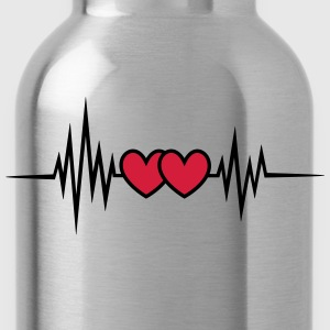 Pulse, frequency heartbeat, hearts Valentine's Day T-Shirts - Water Bottle