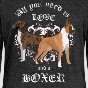 All you need is love and a boxer - Women's Boat Neck Long Sleeve Top