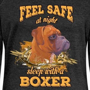 Feel safe at night. Sleep with a boxer - Women's Boat Neck Long Sleeve Top