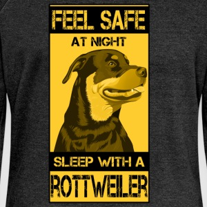 Feel safe at night sleep with rottweiler - Women's Boat Neck Long Sleeve Top