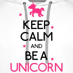 keep calm and be a unicorn vær rolige og en enhjørning Skjorter med lange armer - Premium hettegenser for menn