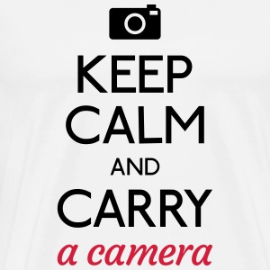 keep calm and camera holde ro og kamera Skjorter med lange armer - Premium T-skjorte for menn