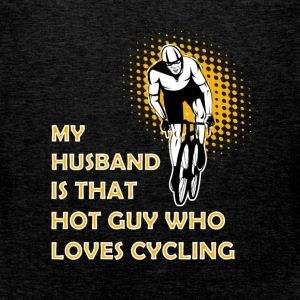 My husband is that hot guy who loves cycling - Men's Premium Tank Top