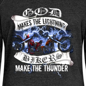 God makes the lightning, bikers make the thunder - Women's Boat Neck Long Sleeve Top