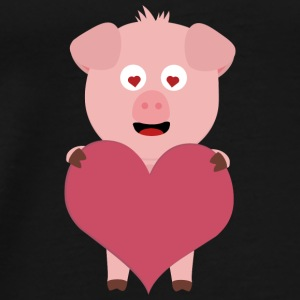 Pig with big hearts for Valentine's day Bags & Backpacks - Men's Premium T-Shirt