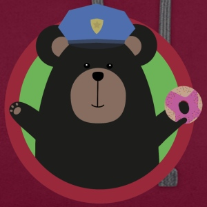 Policeman Grizzly with a pink donut Bags & Backpacks - Contrast Colour Hoodie