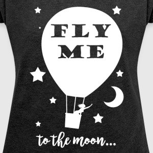 Fly me to the moon anthracite - T-shirt Femme à manches retroussées