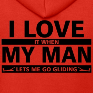 i love my man gliding Underwear - Men's Premium Hooded Jacket