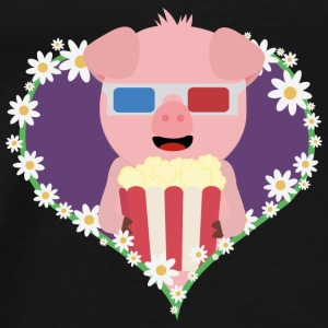 Cinema-pig with heart flower Bags & Backpacks - Men's Premium T-Shirt