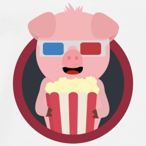 Cinema-pig with popcorn Bags & Backpacks - Men's Premium T-Shirt