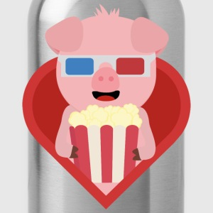 Cinema-pig with popcorn in the heart Bags & Backpacks - Water Bottle