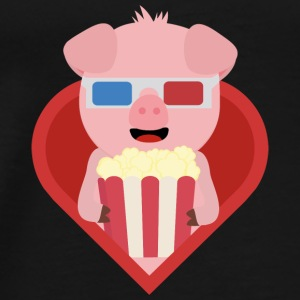 Cinema-pig with popcorn in the heart Bags & Backpacks - Men's Premium T-Shirt