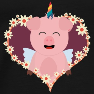 Unicorn-pig in flower heart Bags & Backpacks - Men's Premium T-Shirt
