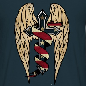 USA cross  wings  ribbon Pullover & Hoodies - Männer T-Shirt