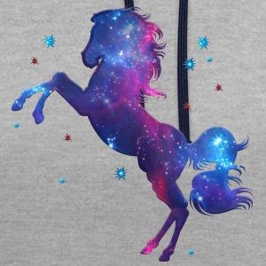 Space horse, galaxy style, fantasy, cosmic - Contrast Colour Hoodie
