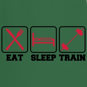 Eat sleep train logo stamp button weight spoof coo T-Shirts - Cooking Apron