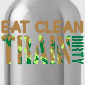 Eat clean strong text healthy train logo stamp wei T-Shirts - Water Bottle