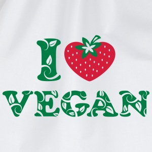 I love vegan, heart, vegetarian, strawberry, like, - Drawstring Bag