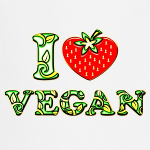 I love vegan, heart, vegetarian, strawberry, like, T-shirts - Forklæde