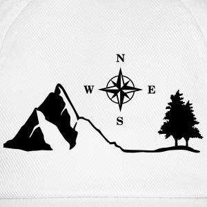 Nature, Mountain, Compass Tops - Baseball Cap