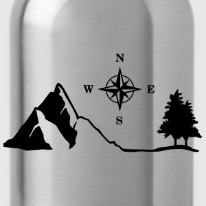Nature, Mountain, Compass Tops - Water Bottle