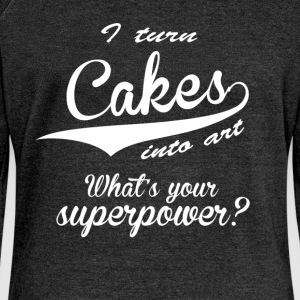 I turn cakes into art. What's your superpower? - Women's Boat Neck Long Sleeve Top
