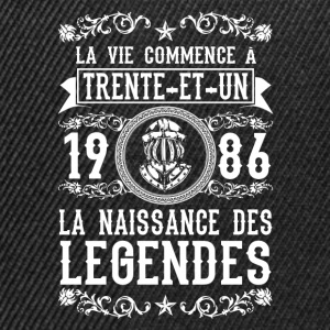 1986 - 31 ans - Légendes - 2017 Tee shirts - Casquette snapback