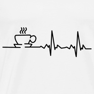 My heart beats for coffee! I love coffee! Long Sleeve Shirts - Men's Premium T-Shirt