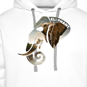 Elephant Safari Scene Head T-Shirts - Men's Premium Hoodie