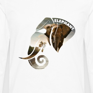 Elephant Safari Scene Head T-Shirts - Men's Premium Longsleeve Shirt